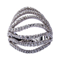 Jona White Diamond 18 Karat White Gold Dome Ring