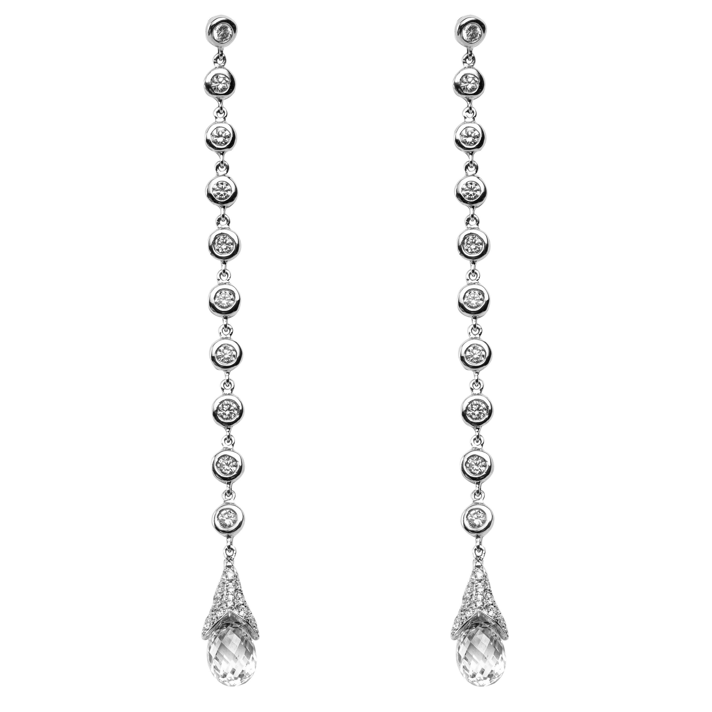 Jona White Diamond 18 Karat White Gold Drop Earrings