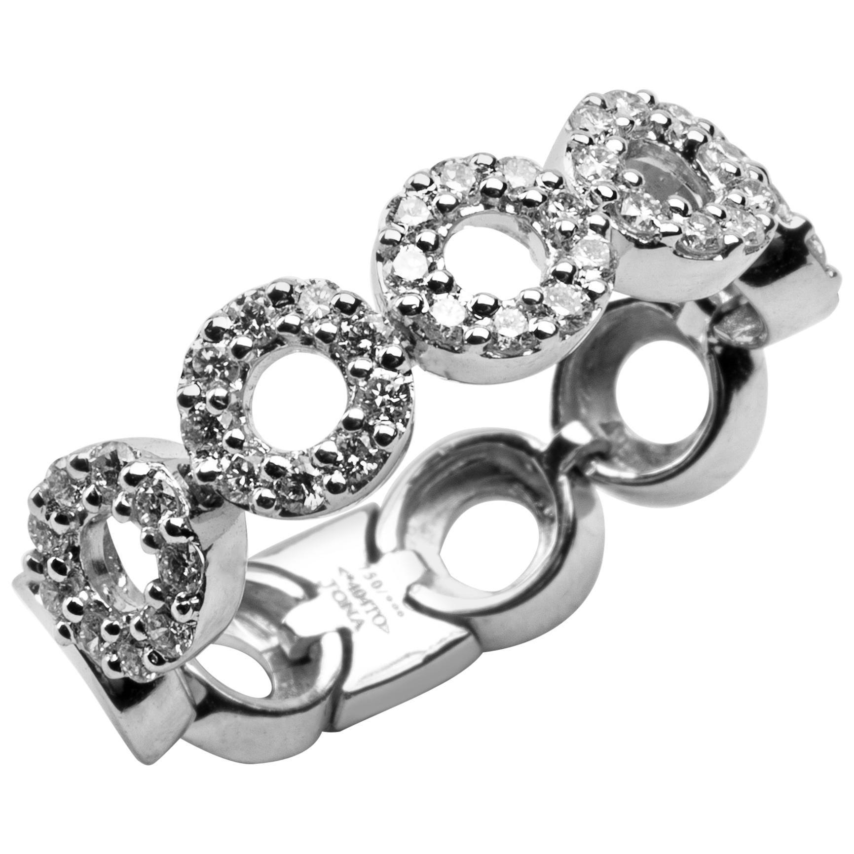 Alex Jona White Diamond 18 Karat White Gold Flexible Band Ring