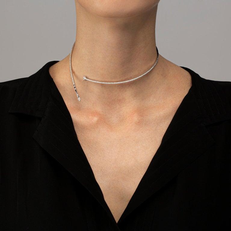 Jona White Diamond 18 Karat White Gold Flexible Choker Necklace In New Condition For Sale In Torino, IT