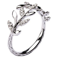 Jona White Diamond 18 Karat White Gold Foliage Ring