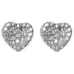 Jona White Diamond 18 Karat White Gold Heart Stud Earrings