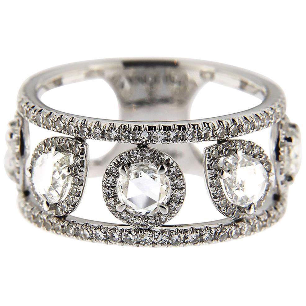 Jona White Diamond 18 Karat White Gold Open Band Ring