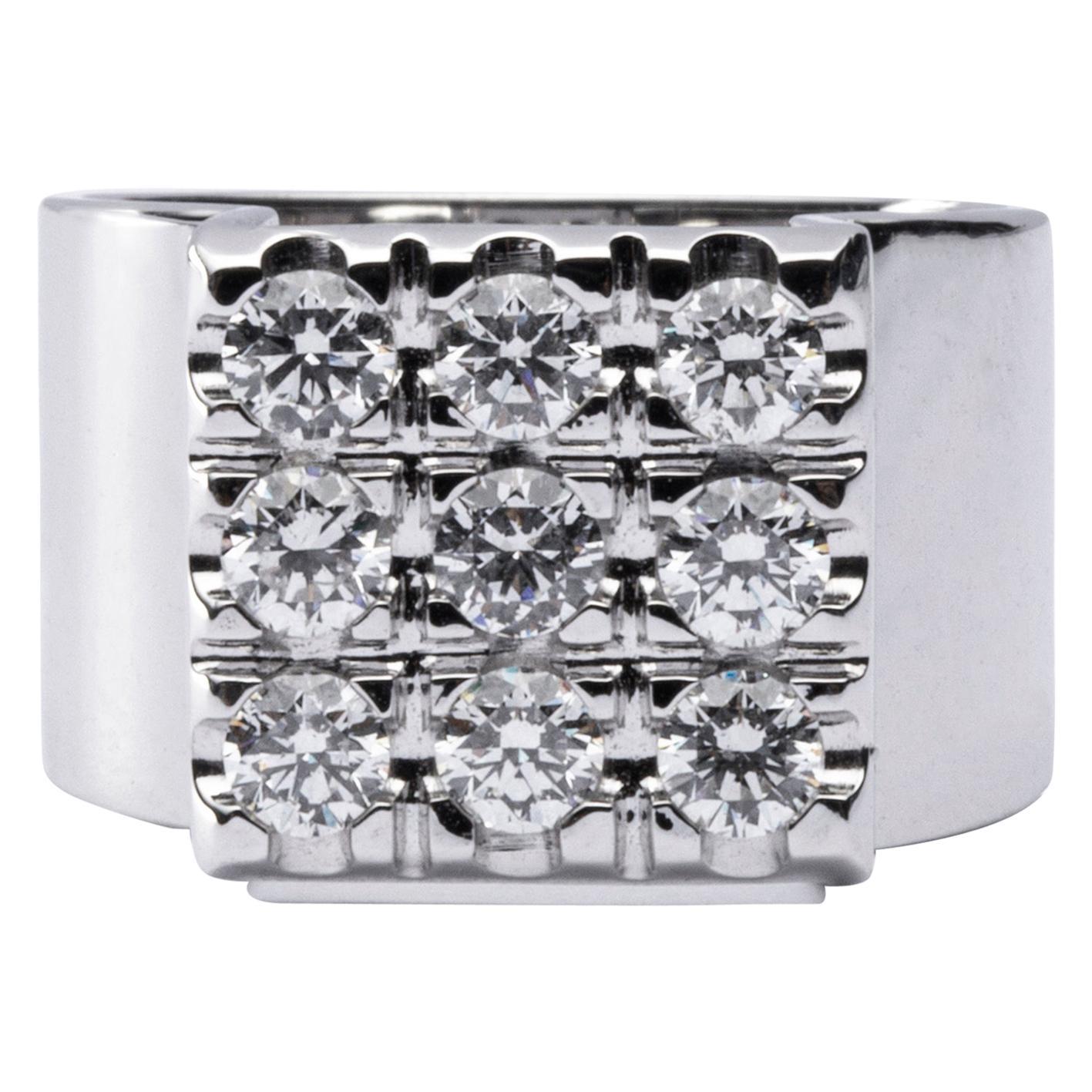 Alex Jona White Diamond 18 Karat White Gold Ring Band