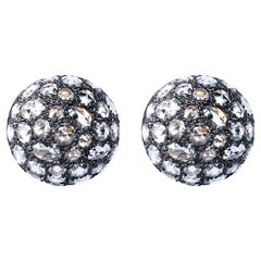 Jona White Diamond 18 Karat White Gold Semi-Sphere Stud Earrings