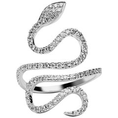Jona White Diamond 18 Karat White Gold Snake Ring