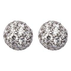 Jona White Diamond 18 Karat White Gold Sphere Stud Earrings
