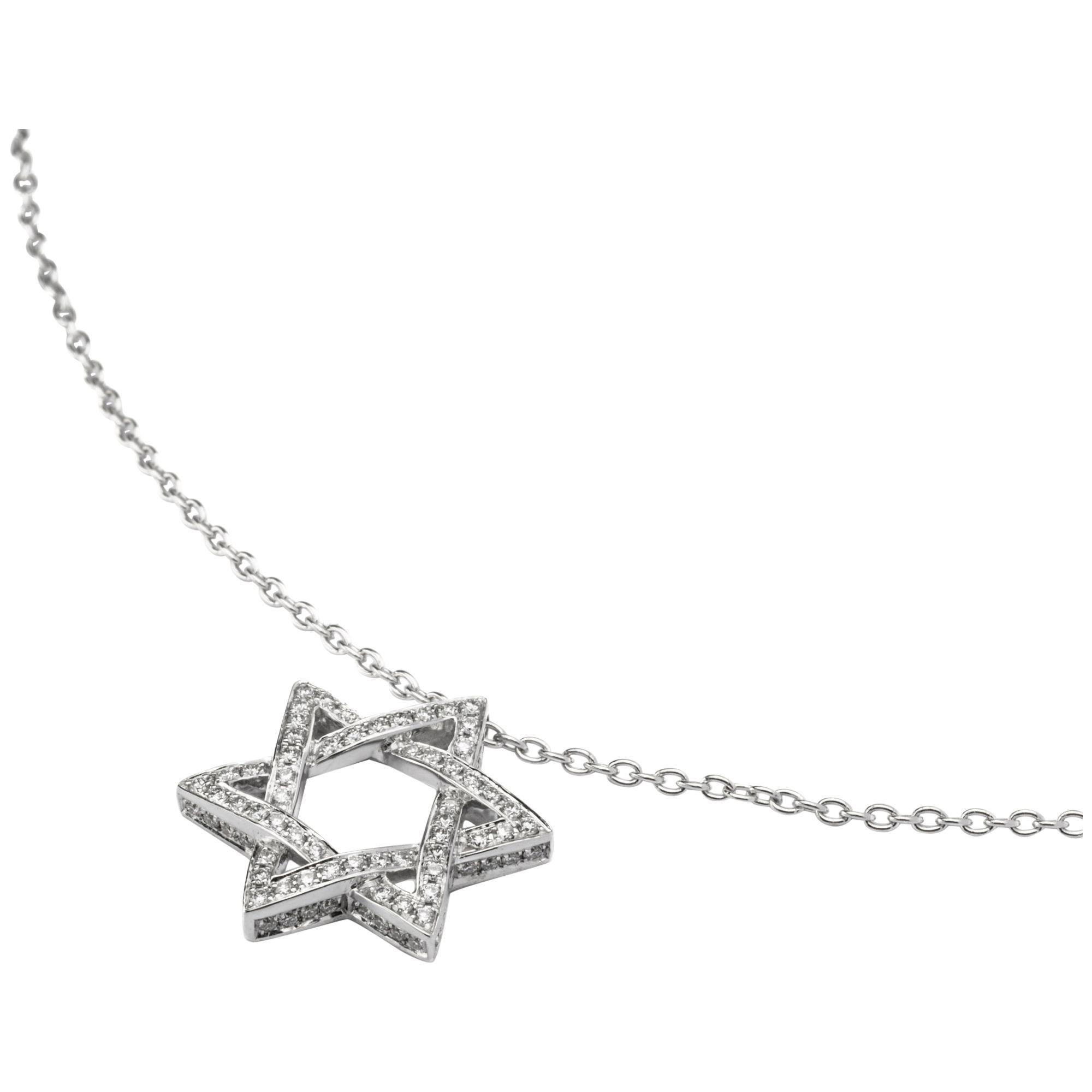 Jona White Diamond 18 Karat White Gold Star of David Pendant Necklace