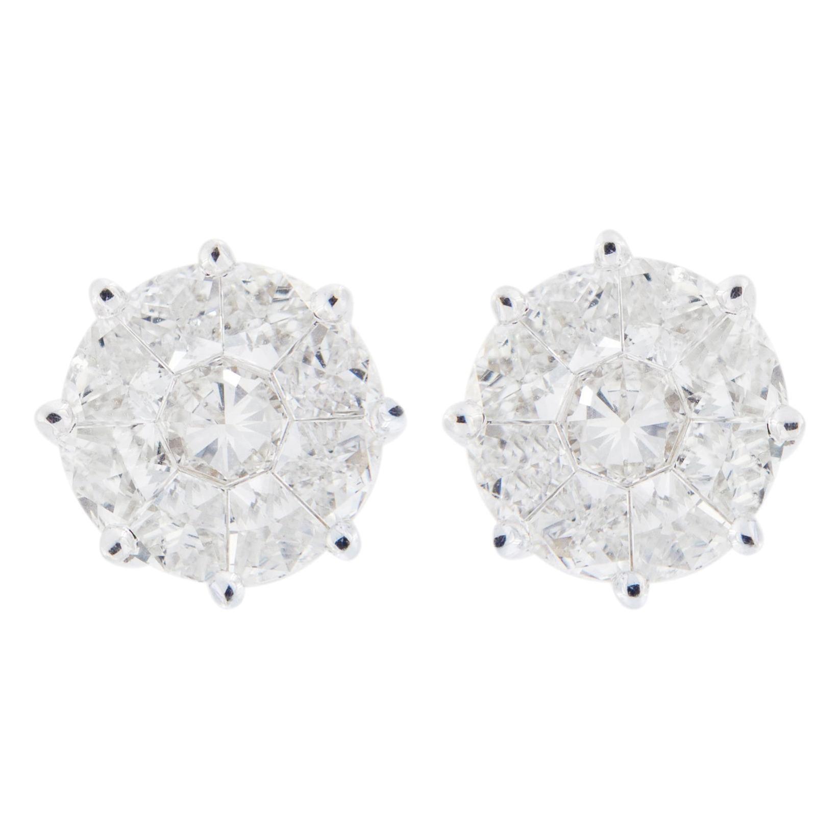 Alex Jona White Diamond 18 Karat White Gold Stud Earrings