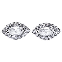 Jona White Diamond 18 Karat White Gold Stud Earrings