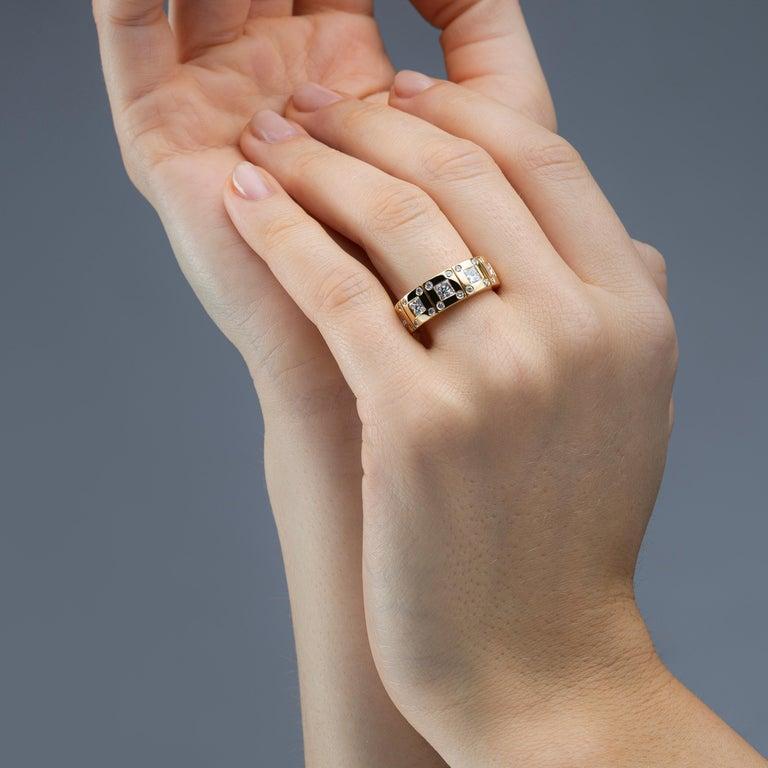 Women's Alex Jona White Diamond 18 Karat Yellow Gold Band Ring For Sale
