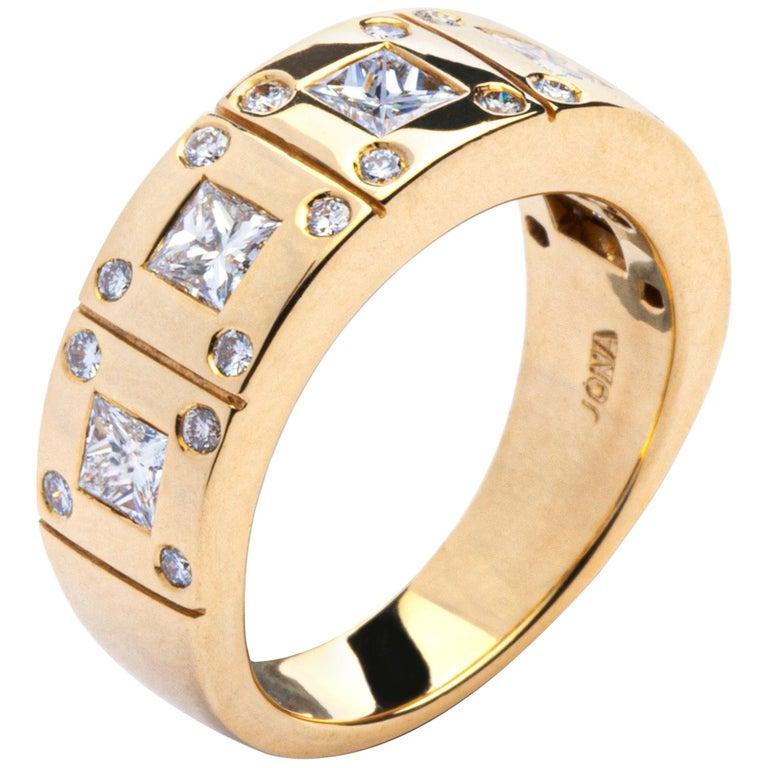 Alex Jona White Diamond 18 Karat Yellow Gold Band Ring For Sale