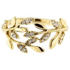 Jona White Diamond 18 Karat Yellow Gold Foliage Ring