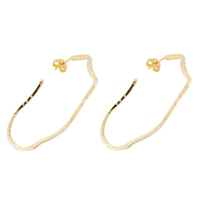Jona White Diamond 18 Karat Yellow Gold Hoop Earrings For Sale 2