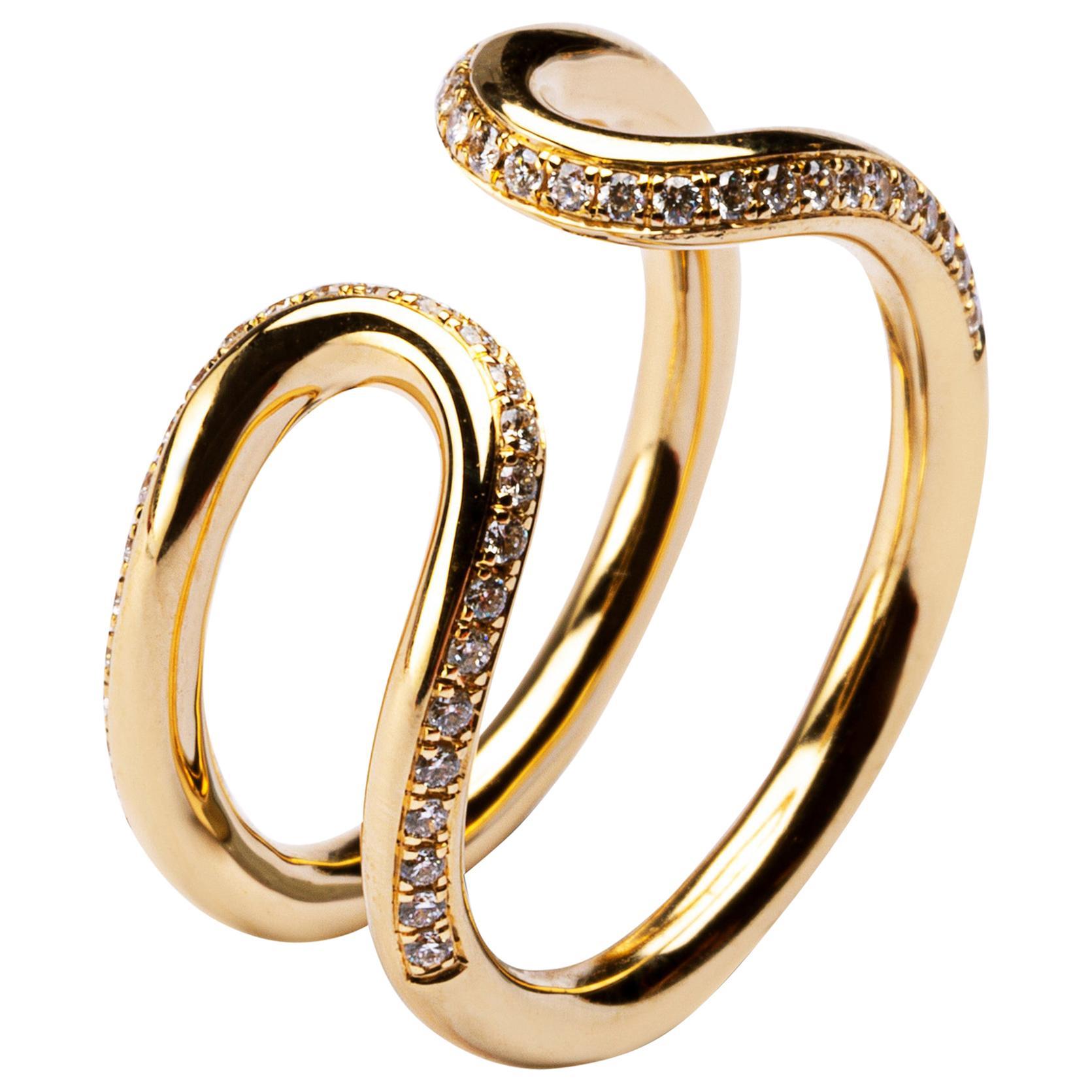 Alex Jona White Diamond 18 Karat Yellow Gold Open Band Ring