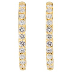 Jona White Diamond 18 Karat Yellow Gold Oval Hoop Earrings