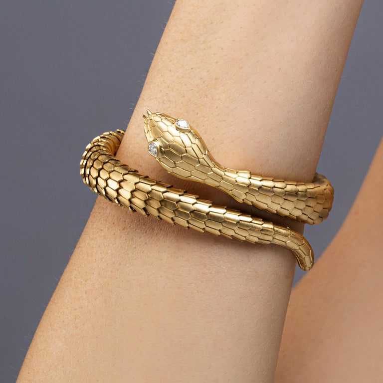 Marquise Cut Jona White Diamond 18 Karat Yellow Gold Snake Coil Bracelet For Sale