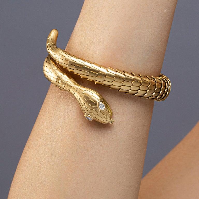 Women's Jona White Diamond 18 Karat Yellow Gold Snake Coil Bracelet For Sale