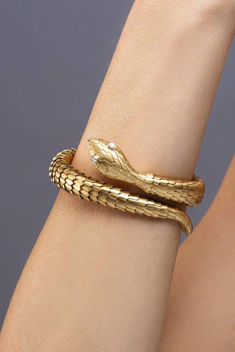 Jona White Diamond 18 Karat Yellow Gold Snake Coil Bracelet For Sale 1