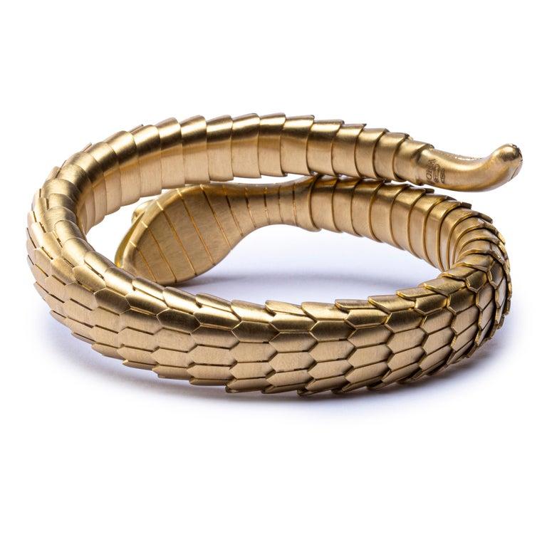 Jona White Diamond 18 Karat Yellow Gold Snake Coil Bracelet For Sale 2