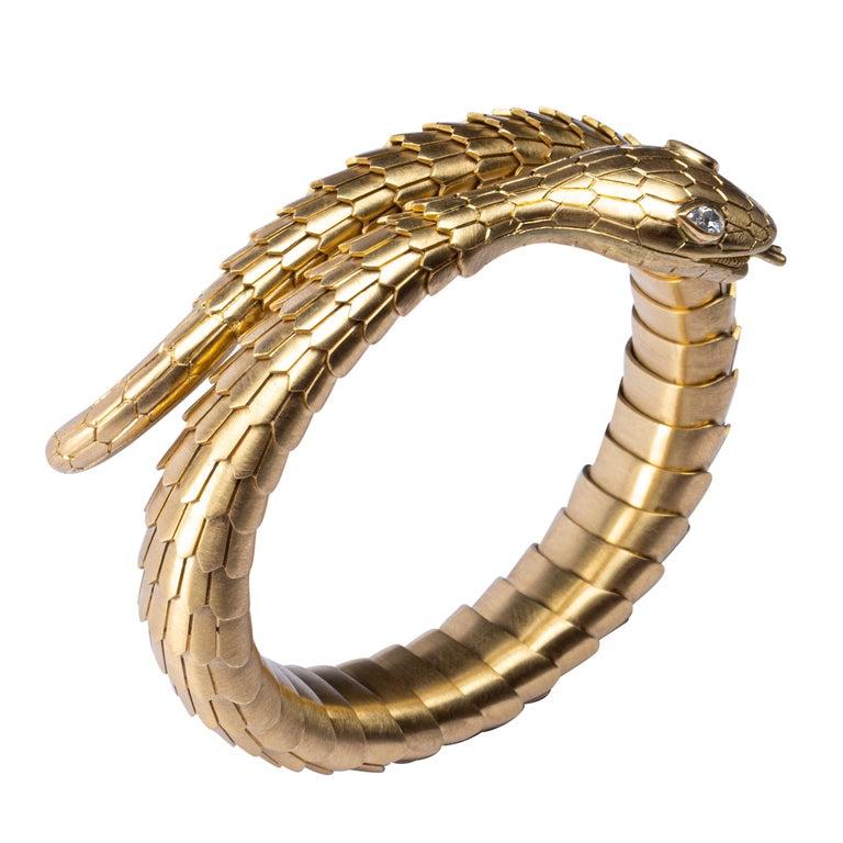 Jona White Diamond 18 Karat Yellow Gold Snake Coil Bracelet For Sale