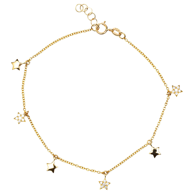 Jona White Diamond 18 Karat Yellow Gold Star Chain Bracelet