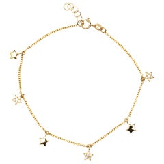 Jona White Diamond 18 Karat Yellow Gold Star Chain Bracelet