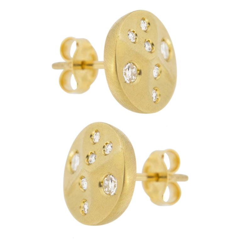 Round Cut Jona White Diamond 18 Karat Yellow Gold Stud Earrings For Sale