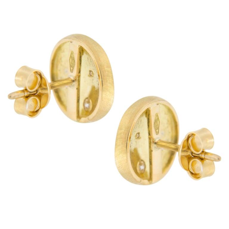 Women's Jona White Diamond 18 Karat Yellow Gold Stud Earrings For Sale