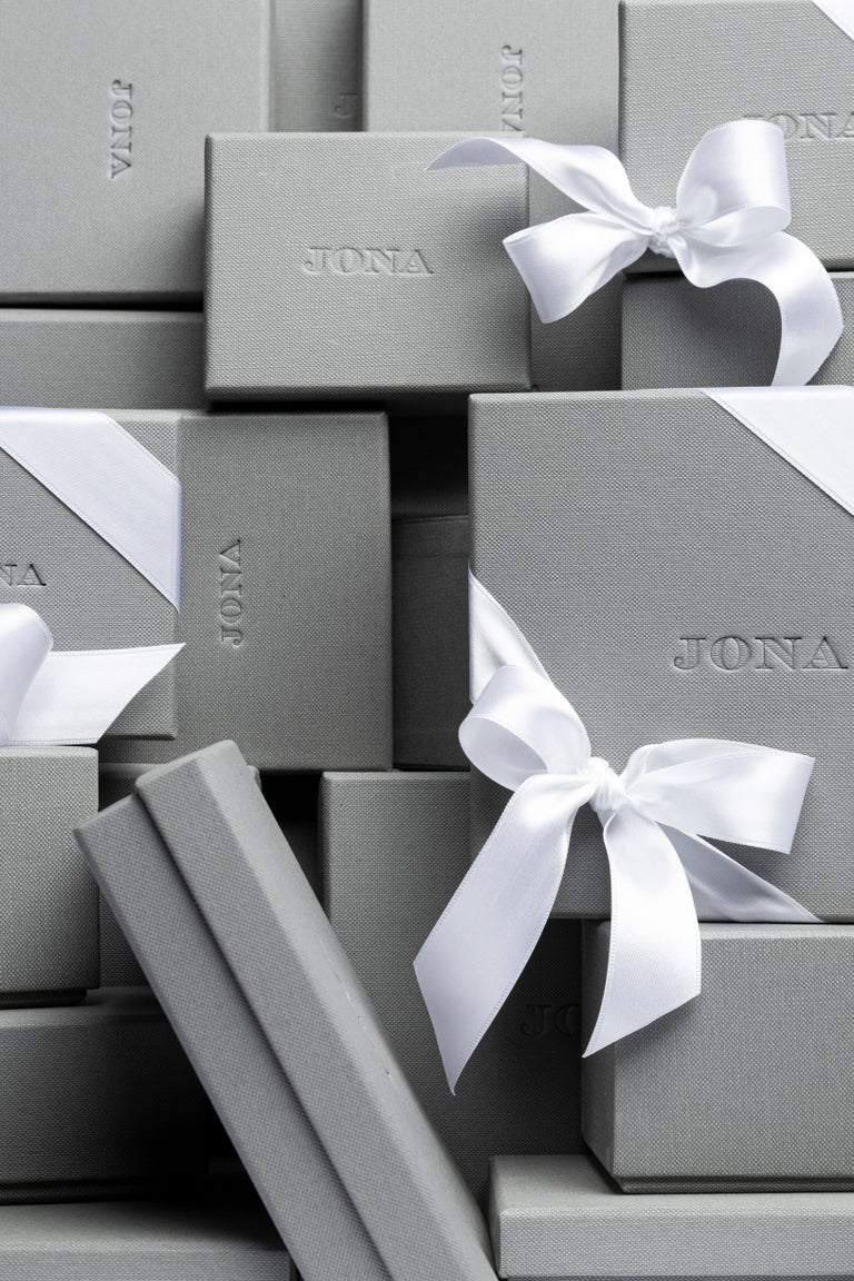 Jona White Diamond 18 Karat Yellow Gold Stud Earrings For Sale 2