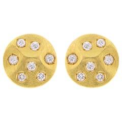 Jona White Diamond 18 Karat Yellow Gold Stud Earrings