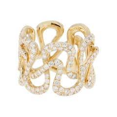Jona White Diamond 18 karat Yellow Gold Swirl Band Ring