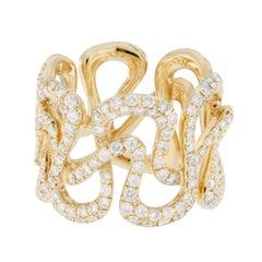 Jona White Diamond 18 karat Yellow Gold Swirl Band Ring
