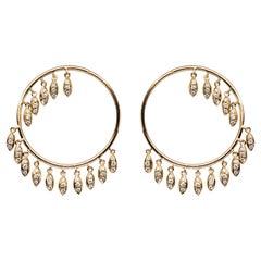 Jona White Diamond 18 Karat Yellow Gold Tessel Hoop Earrings