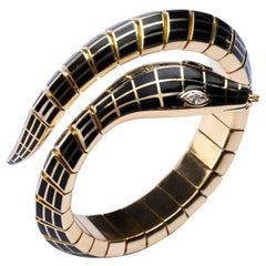 Jona White Diamond Black Enamel 18 Karat Yellow Gold Flexible Snake Bracelet