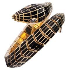 Jona White Diamond Black Enamel 18 Karat Yellow Gold Flexible Snake Bracelet