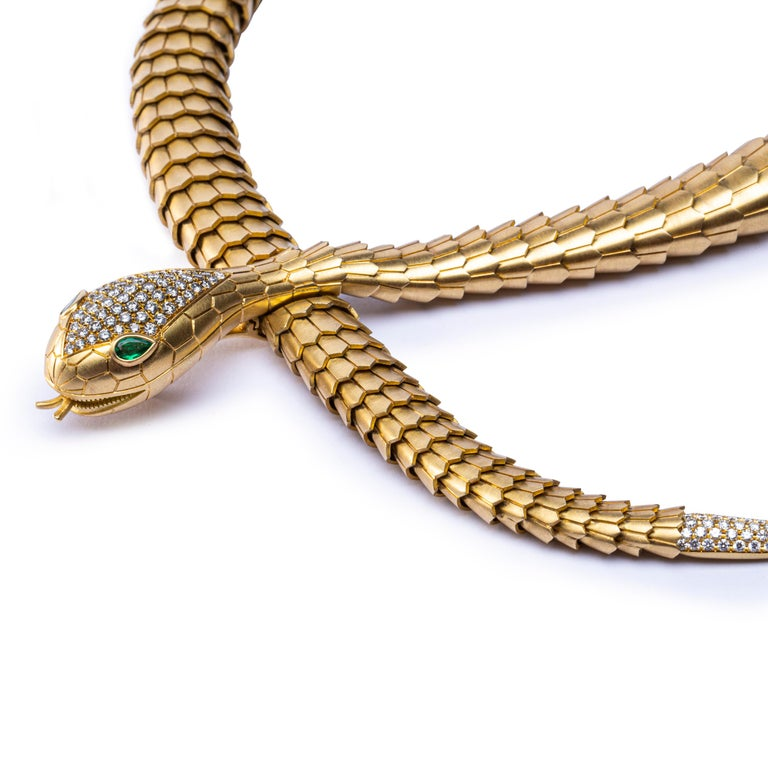 Marquise Cut  Jona White Diamond Brushed 18 Karat Yellow Gold Flexible Snake Necklace For Sale