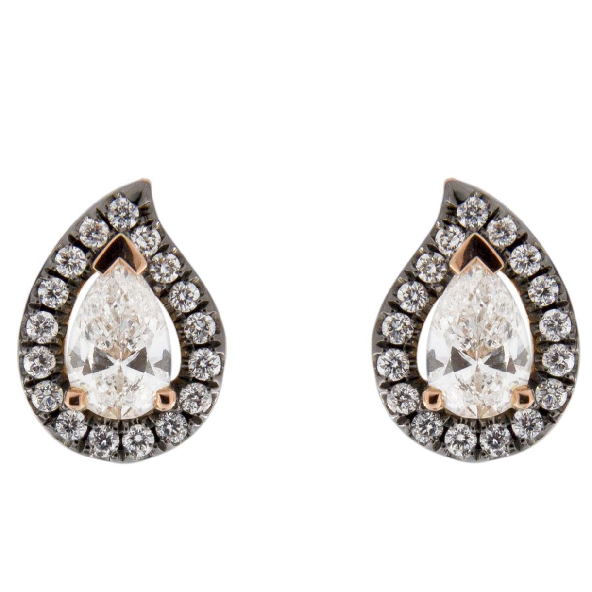 Jona White Diamond Paisley 18 Karat Rose Gold Halo Stud Earrings