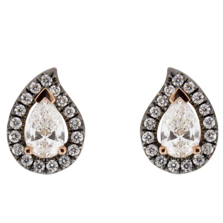 Jona White Diamond Paisley 18 Karat Rose Gold Halo Stud Earrings For Sale