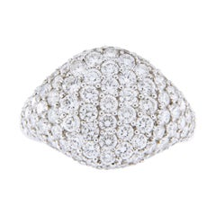 Alex Jona White Diamond Pavé 18 Karat White Gold Signet Ring