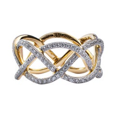 Jona White Diamond Treillage 18 Karat Yellow Gold Eternity Band Ring