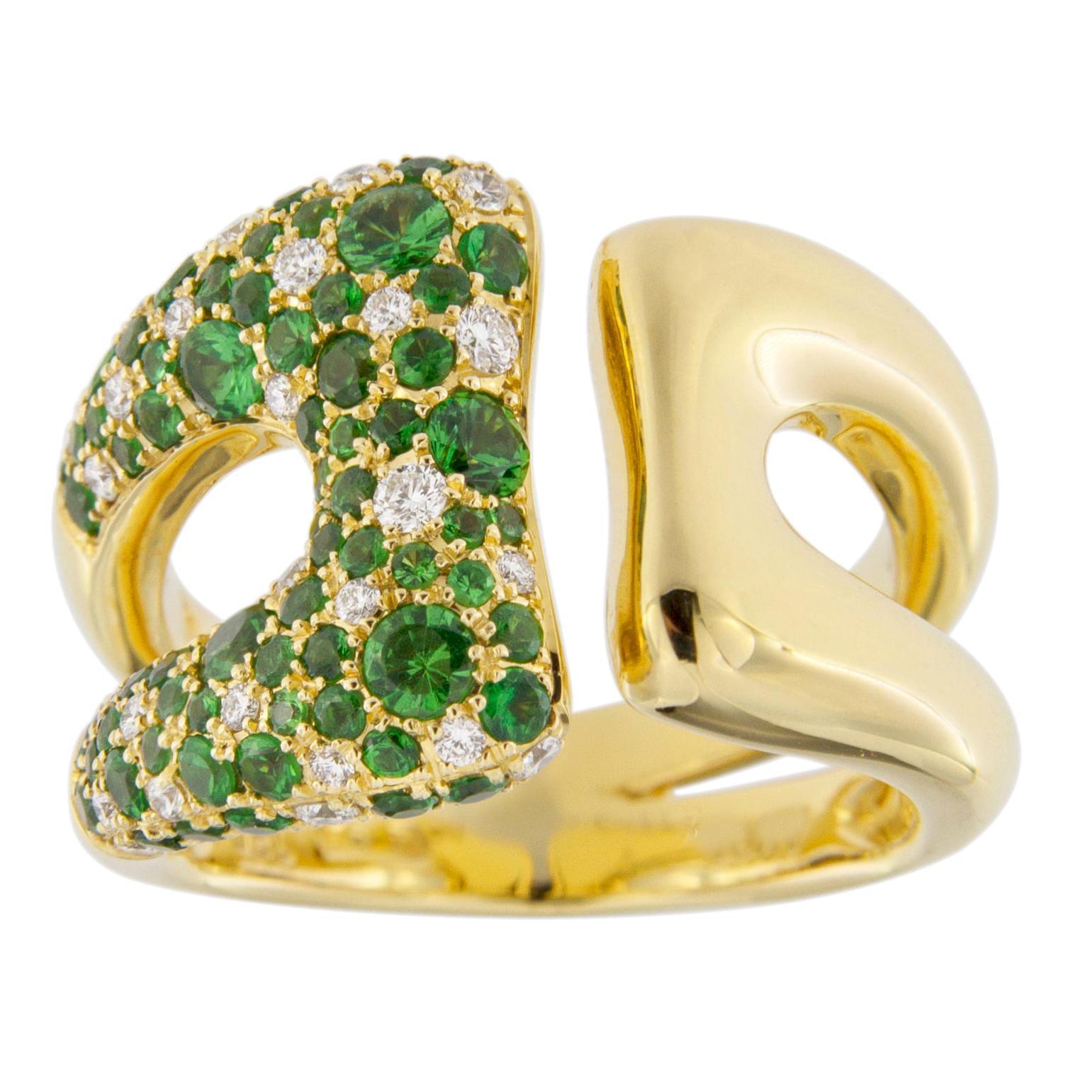 Jona White Diamond Tsavorite 18 Karat Yellow Gold Open Band Ring