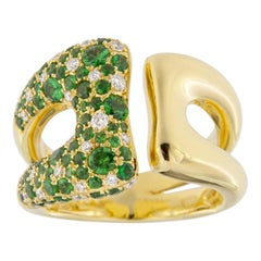 Jona White Diamond Tsavorite 18 Karat Yellow Gold Open Band Ring