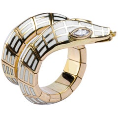 Jona White Diamond White Enamel 18 Karat Yellow Gold Flexible Coil Snake Ring
