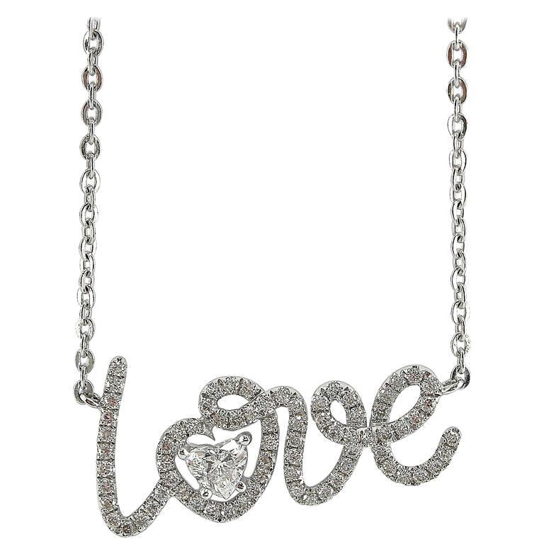 Jona White Diamond White Gold Love Pendant Necklace
