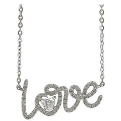 Jona White Diamond White Gold Love Pendant Necklace