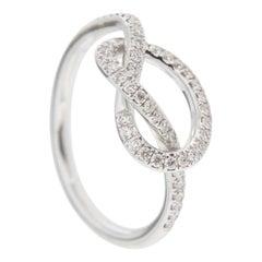 Alex Jona White Diamond 18 Karat White Gold Love Knot Ring
