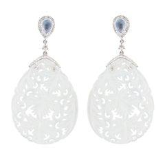 Jona White Jade Moonstone White Diamond 18 Karat White Gold Earrings