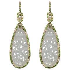 Jona White Jadeite Jade White Diamond 18 Karat White Gold Dangle Earrings