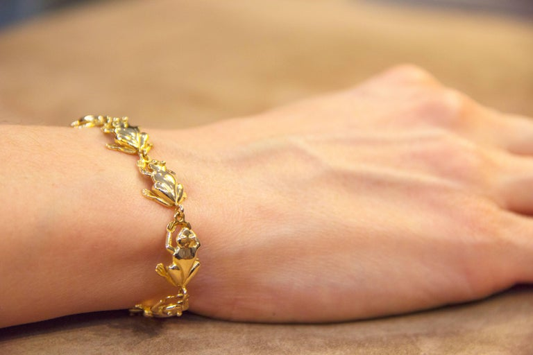 Jona 18k Yellow Gold Frog Charm Bracelet For Sale At 1stdibs